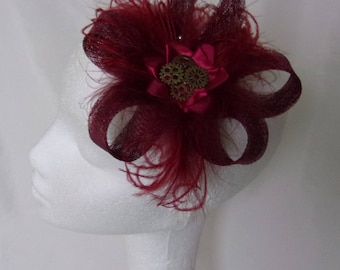 Burgundy Steampunk Fascinator - Wine Marsala Sinamay Loop Feather and Brass Watch Cog Mini Headpiece Hair Clip Headpiece - Made to Order