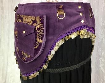 Purple and gold coin belt - bellydance utility belt - plus size bellydance costume - hip loving pocket belt - body positive pockets - Large