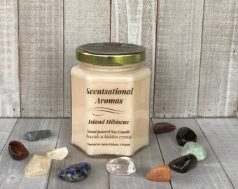 Island Hibiscus scented candle ~ scented soy ~ jar candle ~ crystals ~ 100% soy ~ healing crystals ~ tropical