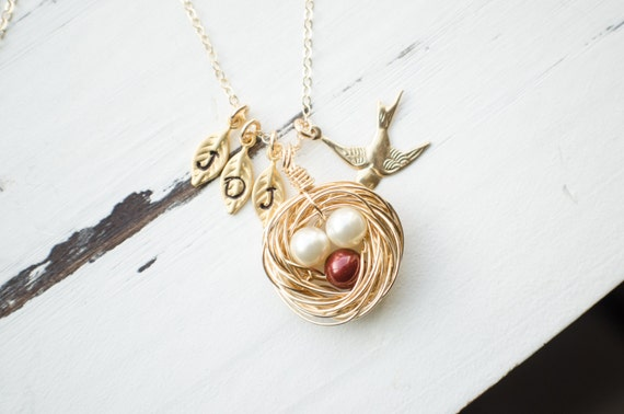Hand Crafted Gold Bird Nest Necklace with Crystal Pearls | Hand Stamped Leaf Initials | Gold Filled Wire Nest | Protective Mama Sparrow