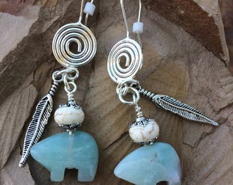 Carved Amazonite Bear with Feather earrings