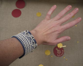 Denim cuff and lace beads faceted black reglablecadeau Christmas