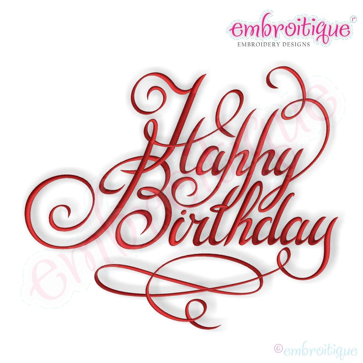 Happy birthday calligraphy script instant download machine