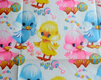 Vintage Wrapping Paper - Mod Baby Ducks  -  Full Unused Sheet