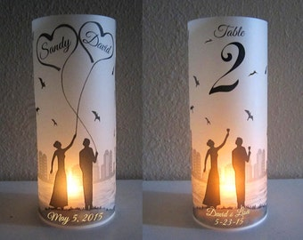 12 Personalized Wedding Centerpiece Luminaries City skyline Table Decoration