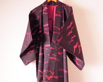 Vintage Japanese Kimono / Wool Kimono / Black Color