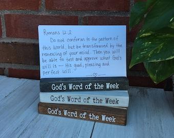 "God's Word of the Week wood block /Handmade weathered wood / Scripture memory verse holder / 6x2.5"" / Weathered white"