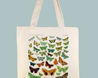 Colorful Vintage Butterflies Canvas Tote - Selection of sizes - image color available