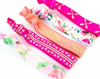 Bohemian Rose Hair Tie Set | Pink Coral + Gold Creaseless Elastic Hair Ties, Boho Feather + Floral Hair Tie Set, Arrows Tribal Dreamcatcher
