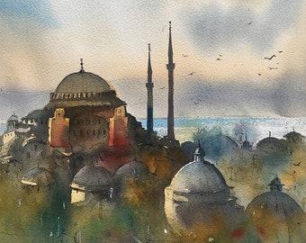 Istanbul Hagia Sophia watercolor painting art print.
