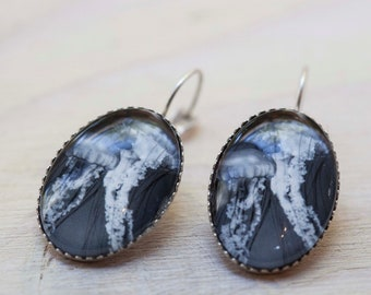 Jellyfish earrings, Jellyfish jewelry, Black and white photograph, Silver earrings, Glass dome, Nature Jewelry, Nautical jewelry, Woman gift