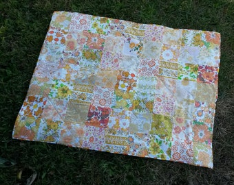 Orange and Yellow Vintage Sheet Quilt - Picnic Blanket - Cot Quilt - Crib Quilt - Lap Quilt - Handmade with Vintage Sheets