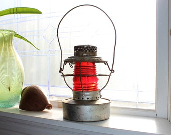 Antique Kerosene Lantern Handlan Red Globe