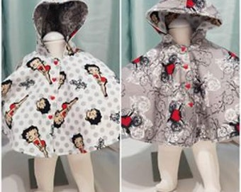 Reversable Flannel Betty Boop/Hearts Seat Poncho, various sizes