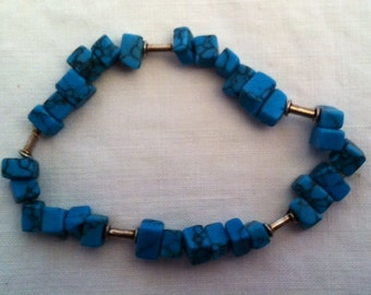 Turquoise and silver stretchy bracelet