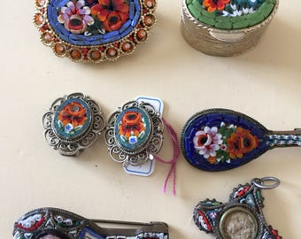 Italian Micro Mosaic Collection of Brooch / Pin / Earrings/Pendent/Pillbox
