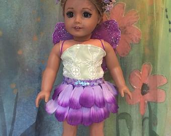 American Girl Custom OOAk Garden Fairy Collection: Purple Petunia Fairy Outfit