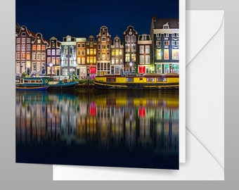 Amsterdam Photo Greetings Card - Canal Reflections - Travel Photograph, Blank Art Photo Card Print, Fine Art Photography, Amsterdam