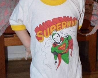 Vintage 1970s DC Comics Superman Youth Shirt!!! Kid's Superhero Man of Steel Ringer Tee!!!