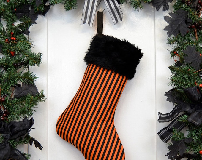 Orange and Black Stripe Halloween Christmas Stocking, Black Faux Fur, Canvas Liner, Halloween Decoration