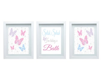 Girls Bathroom Decor, Splish, Splash, Iu0027m Taking A Bath, Bathroom Wall Art Butterfly  Decor Wall Art Set Of 3 8X10 Prints Choose Your Color