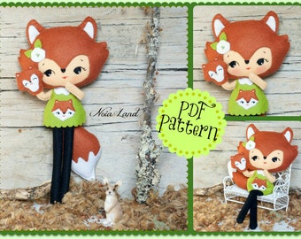 PDF. Woodland fox doll with puppet . Pattern.