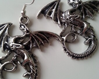 Huge, DRAGON,big dragon earrings,  Silver, earrings,dragon earrings, dangle earrings, by NewelsJewels on etsy