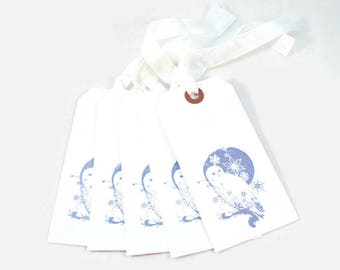 Christmas Gift Tags, Snow Owl, Snowflakes, Winter Tags, Holiday Gift Tags, Owl And Moon Tags, Hang Tags, Merchandise Tags, Blue Gift Tags