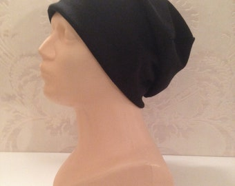 black cotton beanie