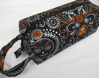 Dia de Los Muertos Spider and Skull Halloween Cosmetic Bag Makeup Bag LARGE