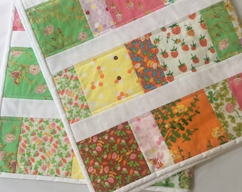 Baby Quilt Handmade with Flowers, Strawberries, Bees, and Frogs, Briar Rose Fabric, Baby Girl Blanket