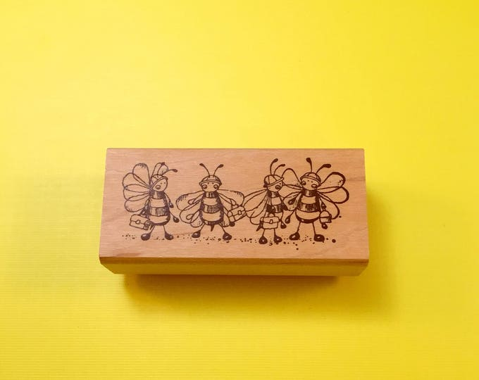 Worker BEES Wood Mount Rubber Stamp by PEDDLER'S PACK Stampworks 1995-1996