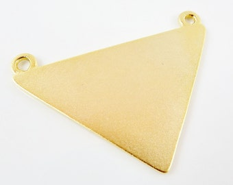 Triangle Minimalist Geometric Statement Pendant with Two Loops - 22k Matte Gold Plated - 1 PC