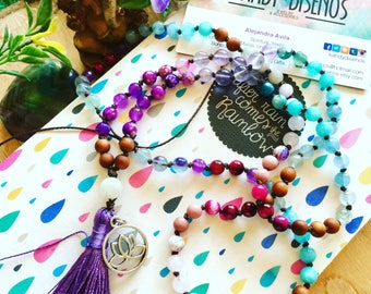 Serenity 108 Mala Necklace Bracelet with tassel. Mala for Peace. Artisan Japa Mala Gemstones Woods. Yoga Necklace Meditation Jewelry. Custom