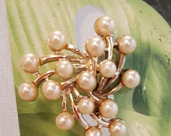 Pin and Earring Set  -  Faux Pearls Vintage