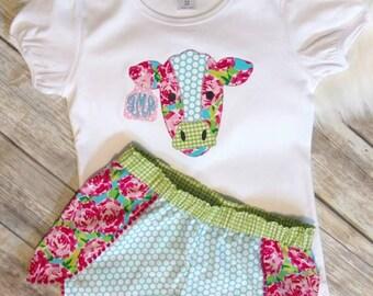 Cow Coachella short set outfit
