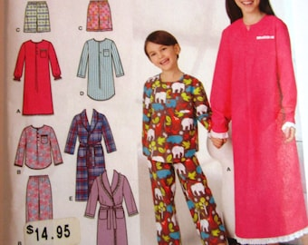Girls and Boys Pajamas, Nightgown, Nightshirt and Robe Sizes 7 8 10 12 14 Simplicity Pattern 1570 UNCUT