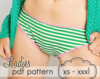 Ladies Basic Brief Bottoms - INSTANT DOWNLOAD - xs - xxxl - pdf sewing pattern - hipsters, high waist, boyshort, swimsuit, bikini, tankini
