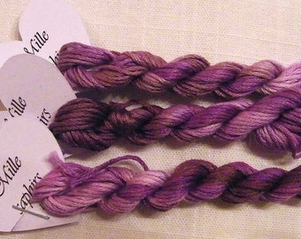 171 Mille Saphirs (1000 Sapphires) hand dyed variegated stranded cotton, skein 8 metres, Fils a Soso. Pretty tones of mauve and purple.