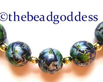 5 Beautiful Japanese Tensha Beads MORNING GLORIES on BLUE Metallic 12mm