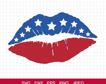 Flag Lips Svg, American Flag Lip SVG, 4th of July svg, Patriotic Lips Svg, Fourth of July svg, cricut silhouette, svg, eps, dxf, png, jpg
