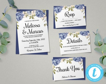 Blue Peony Wedding Invitation Template Set, Floral Wedding Invite, Printable Invitation, Easy to Edit, Blue Peonies Wedding Theme
