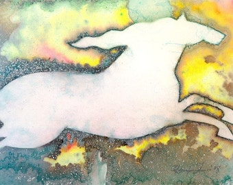 """Abstract Horse Watercolor Painting, Art, Nursery Room Art """"MAGICAL HORSE 3"""" Original Contemporary Modern by Kathy Morton Stanion EBSQ"""
