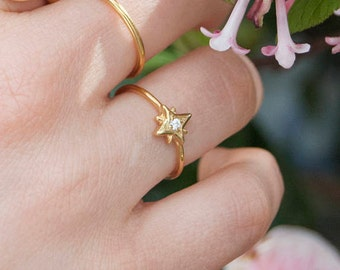 North star ring - stacking ring - tiny north star gold ring - zodiac jewelry - small ring - tiny gold ring - star ring - ring -C1-R-8142