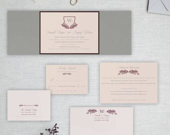 Rustic Vintage Shield Wedding Invitations, Unique Pink Crest Invitations, Grey and Plum, Pink and Burgundy Invite | Danielle & Gregory
