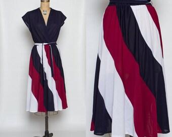 vintage 70s dress | sheer striped 1970s | cap sleeves | belt