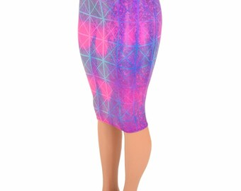 """27"""" Long Northern Lights Cracked Tile Holographic Sparkly Shiny Bodycon Pencil Skirt -155178"""