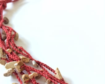 Wine and earth layers crochet necklace