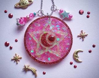 23) Sailor Moon pendant brooch Red big