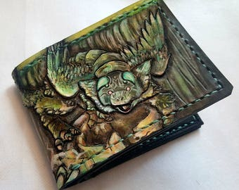 Trico the last guardian inspired Leather Bifold Wallet - Handcrafted Wallet - carved - painted